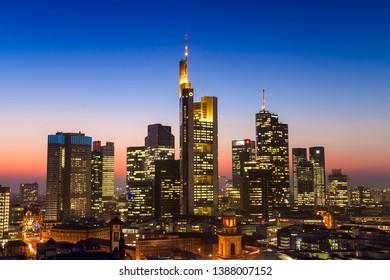 Frankfurt am Main, Germany - February 6, 2015: cityscape of Frankfurt am Main city at sunset