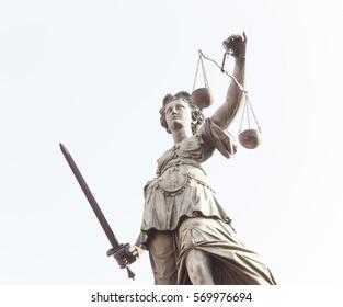 FRANKFURT AM MAIN, GERMANY - FEBRUARY 6, 2015: Lady Justice statue in Frankfurt am Main city, Germany