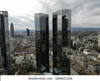 Frankfurt am Main, Germany, Hesse: areal view of Deutsche Bank twin tower - headquarters in Frankfurt, downtown, April 2018