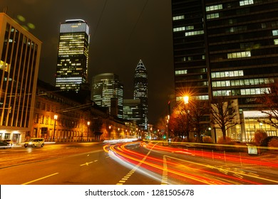 Frankfurt am Main, Germany - January 07, 2019: city street in the financial district of Frankfurt at night. Frankfurt is the major financial centre of the European continent