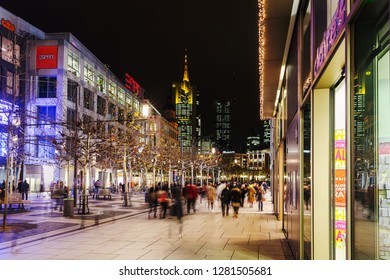 Frankfurt am Main, Germany - January 07, 2019: shopping street at the shopping center MyZeil at night, with unidentified people. Frankfurt is the major financial centre of the European continent