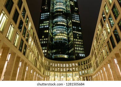 Frankfurt am Main, Germany - January 07, 2019: view of the Tower 185 in Frankfurt, Germany, at night. The skyscraper is 55-storey and 200 meters high and one of the tallest buildings in Frankfurt