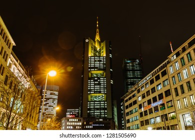Frankfurt am Main, Germany - January 07, 2019: Commerzbank Tower at night. With a total height of 300.1 m it is the tallest building in Frankfurt and the tallest building in Germany