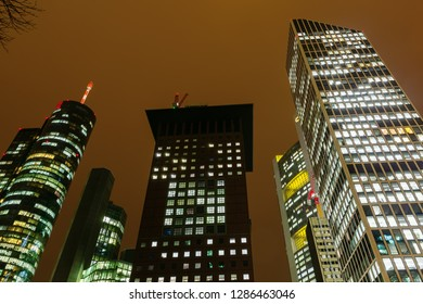 Frankfurt am Main, Germany - January 07, 2019: cityscape of the financial district in Frankfurt am Main at night. Frankfurt is the major financial centre of the European continent