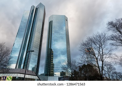 Frankfurt am Main, Germany - January 08, 2019: Deutsche Bank Twin Towers in Frankfurt. Both towers rise to 155 m and serve as headquarters for Deutsche Bank, the largest bank in Germany