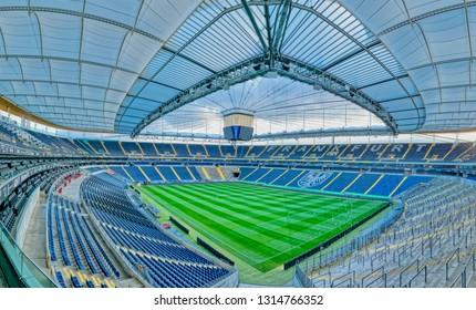FRANKFURT AM MAIN, GERMANY - January 18, 2019 Panorama of empty football stadium Commerzbank Arena with closeable roof construction, home of football club Eintracht Frankfurt