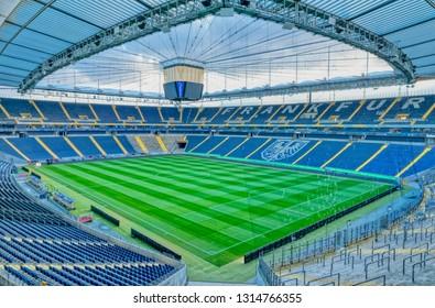 FRANKFURT AM MAIN, GERMANY - January 18, 2019 Empty football stadium Commerzbank Arena with closeable roof construction, home of football club Eintracht Frankfurt