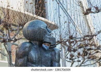 FRANKFURT AM MAIN, GERMANY - January 18, 2019 Zeil street famous contemporary sculpture David and Goliath in sunny winter morning.