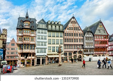 FRANKFURT AM MAIN, GERMANY - JANUARY 8, 2019: Romerberg (Romerplatz) with old Half-timbered houses. Romerberg is the central square of the Frankfurt am Main old town (Altstadt).