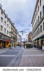 FRANKFURT AM MAIN, GERMANY - JANUARY 8, 2019: Frankfurt Street view. Frankfurt am Main is the largest city in the German state of Hesse and the fifth-largest city in Germany.