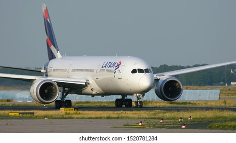 FRANKFURT AM MAIN, GERMANY - JULY 19, 2017: Close-up of Boeing 787-9 Dreamliner CC-BGE of Latam Chile Airlines taxiing to runway before departure