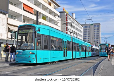 FRANKFURT AM MAIN, GERMANY - JULY 9, 2018 - Bombardier S-type articulated low-floor tram, operated by VKF, in the city centre of Frankfurt