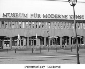 FRANKFURT AM MAIN, GERMANY - JUNE 03, 2013: The Museum fuer Moderne Kunst (Museum of Modern Art) designed by Viennese architect Hans Hollein in 1982 is the newest art gallery in town