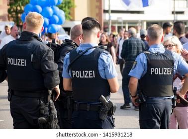 Frankfurt am Main, Germany - June 04 2019: German Police Officers at German Israel Congress in Frankfurt, Germany.
