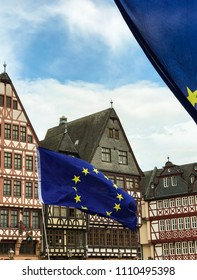 Frankfurt am Main, Germany - June 10, 2018: European flags over the Roemer square