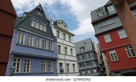 Frankfurt am Main, Germany: June 10, 2018: Houses in the reconstructed Old Town