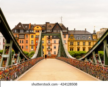 FRANKFURT AM MAIN, GERMANY - JUNE 11, 2015: One of the bridge of Frankfurt am Main, Germany. Frankfurt is the largest city in the German state of Hesse
