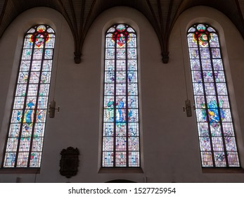 Frankfurt am Main, Germany / June 12 2019 : A view of The St. Catherine's Church.