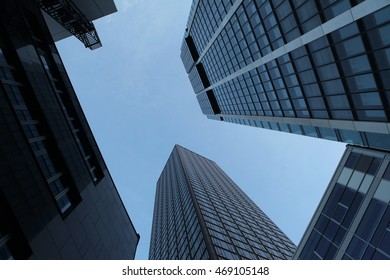 FRANKFURT AM MAIN, GERMANY - JUNE 14, 2015: Modern skyscrapers in the Bankenviertel (banking district) in Frankfurt am Main, Hesse, Germany.