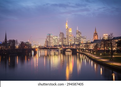 Frankfurt am Main, Germany. March 07, 2014 High Dynamic Range Image of Frankfurt skyline during sunset blue hour