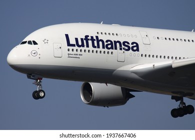 FRANKFURT AM MAIN, GERMANY - MARCH 15, 2012: German Lufthansa Airbus A380-800 with registration D-AIME on final for runway 25L of Frankfurt Airport.
