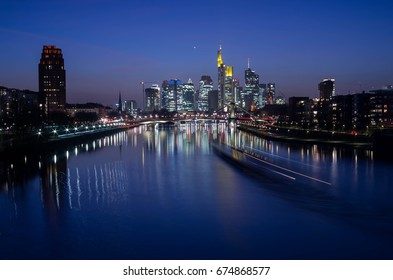 Frankfurt am Main, Germany - March 16 2017 : Frankfurt am Main skyline at night
