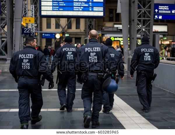 Frankfurt am Main, Germany - March 18, 2017: Police officers in Frankfurt am Main central railway station, Germany.