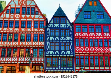 FRANKFURT AM MAIN, GERMANY, March 22 2019: Traditional German city houses located in Old Town of Frankfurt am Main, Germany.