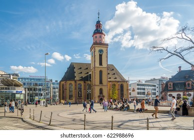 FRANKFURT AM MAIN, GERMANY - MARCH 30,2017 - St.Katherine church in the streets of Frankfurt am Main. Frankfurt is the major financial center of the European continent.