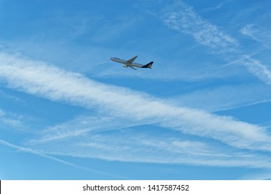 Frankfurt am Main, Germany - May 13, 2019: Lufthansa airplane against blue sky. This photo was taken at the Frankfurt airport