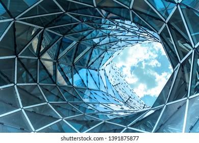FRANKFURT AM MAIN, GERMANY - MAY 18, 2016: MyZeil - shopping mall in center of Frankfurt. It was designed by Roman architect Massimiliano Fuksas