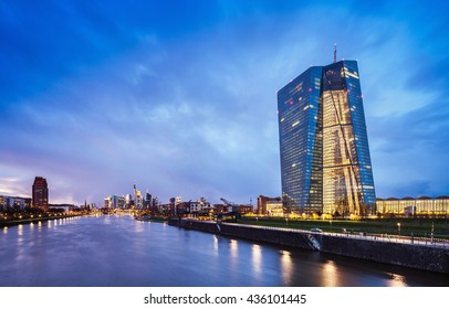 FRANKFURT AM MAIN, GERMANY, MAY 19, 2015: New headquarters of the European Central Bank or ECB with Frankfurt city skyline on background