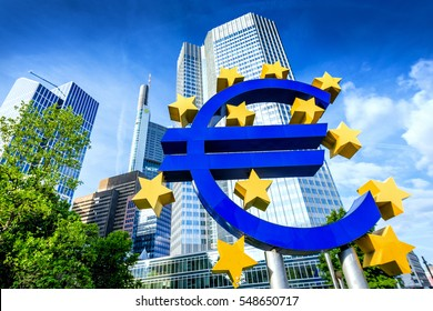 FRANKFURT AM MAIN, GERMANY - May 30, 2014: Euro sign in Frankfurt am Main, Germany. Frankfurt is the largest city in the German state of Hesse.