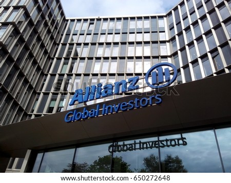 FRANKFURT AM MAIN, GERMANY - MAY 5, 2017: Sign and logo of Allianz Global Investors, one of the world's leading active investment managers.