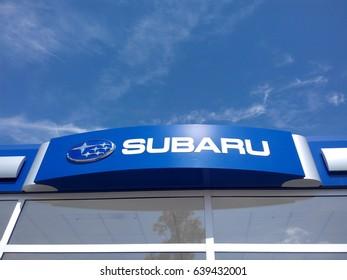 FRANKFURT AM MAIN, GERMANY - MAY 6, 2017: Subaru automobile dealership sign. Subaru is one of the top worldwide automaker.
