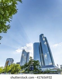 FRANKFURT AM MAIN, GERMANY - MAY 7, 2016: Bottom view of 155 meter high Deutsche Bank Twin Towers in the central business district of Frankfurt, the largest financial center in Europe.