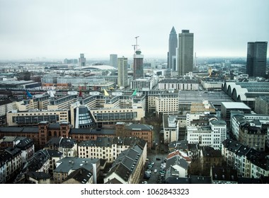 Frankfurt Am Main, Germany. New European financial, fintech and insurtech capital after Brexit. Frankfurt aerial view.