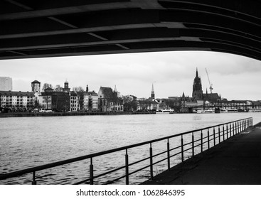 Frankfurt Am Main, Germany. New European financial, fintech and insurtech capital after Brexit. River Main at night.