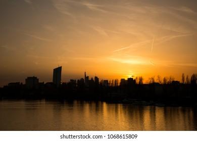 Frankfurt Am Main, Germany. New European financial, fintech and insurtech capital after Brexit. Frankfurt skyline at night.