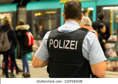 Frankfurt am Main, Germany - November 13 2018 : German Police officer in a subway station in Frankfurt am Main, Germany.