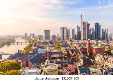 Frankfurt am Main, Germany - November, 2018: Panoramic view cityscape skyline of business district with skyscrapers during sunrise, Frankfurt am Main. Hessen, Germany.
