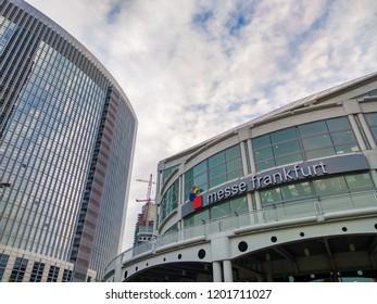 Frankfurt am Main, Germany - October 12 2018: Messe Frankfurt, exhibition halls and buildings