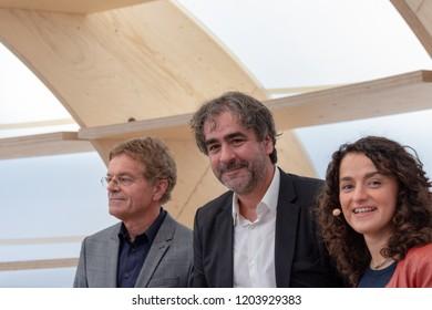 FRANKFURT AM MAIN, Germany - October 12 2018: Alexander Skipis, Deniz Yücel and Esra Kücük at 70th Frankfurt Book Fair / Buchmesse Frankfurt