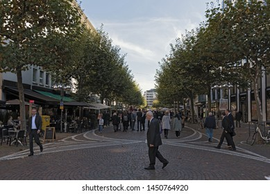 FRANKFURT AM MAIN, GERMANY OCTOBER 18, 2017: the fressgass upmarket shopping street in the city centre of frankfurt am main germany