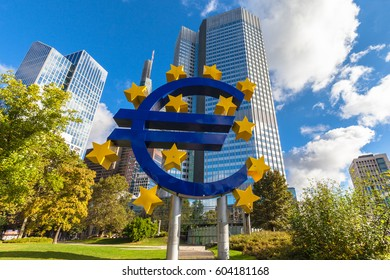 Frankfurt am Main, Germany - October 2, 2016 - The huge sculpture of the Euro sign in front of the European Central Bank headquarter building in Franfurt am Main, Hesse, Germany
