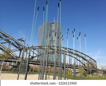 Frankfurt am Main, Germany, October 2018, bridge close to the European Central Bank, ECB