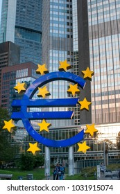 FRANKFURT AM MAIN, GERMANY - OCTOBER 6, 2017: Euro Sign. European Central Bank (ECB) is the central bank for the euro and administers the monetary policy of the Eurozone.