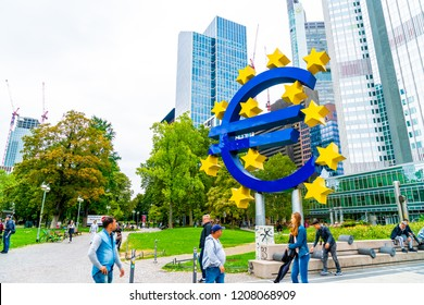 FRANKFURT AM MAIN, GERMANY - SEP 2, 2018: The Famous Big Euro Sign at the European Central Bank.