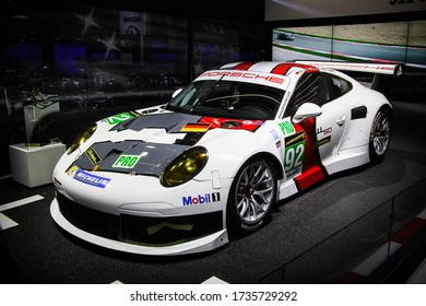 Frankfurt am Main, Germany - September 15, 2013: Racing car Porsche 911 (991) presented at the Frankfurt International Motor Show IAA (Internationale Automobil Ausstellung).