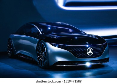 Frankfurt am Main, Germany - September 17, 2019: World premiere of the luxury car Mercedes-Benz Vision EQS at the Frankfurt Motor Show IAA 2019 (Internationale Automobil Ausstellung).